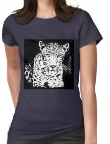 Leopard Black And White Portrait T-Shirt Womens Fitted T-Shirt