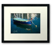 Crystal Clear Mediterranean Blue - Vintage Maltese Luzzu Fishing Boat at Anchor Framed Print