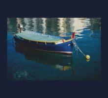 Crystal Clear Mediterranean Blue - Vintage Maltese Luzzu Fishing Boat at Anchor Kids Tee