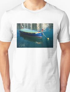 Crystal Clear Mediterranean Blue - Maltese Luzzu Fishing Boat at Anchor T-Shirt