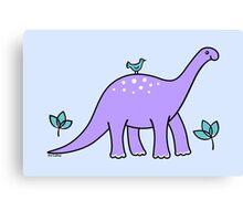 Purple Diplodocus Dinosaur with Bird Canvas Print