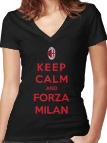 Keep Calm And Forza Milan Women's Fitted V-Neck T-Shirt