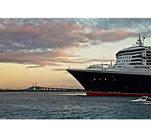 Queen Mary 2 and Melbourne's Westgate Bridge Photographic Print