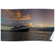 Queen Mary 2 Melbourne Sunrise Poster