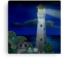To the moon lighthouse Canvas Print