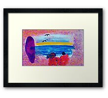 Surf  and Sand on a nude beach, watercolor Framed Print