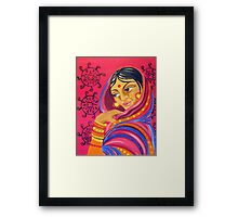 Hindu Woman Acrylic Painting Framed Print