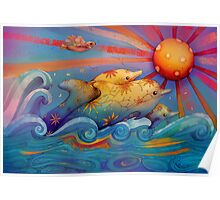 rainbow dolphins Poster