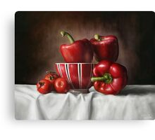 Classic Still Life with tomatoes and peppers Canvas Print