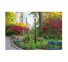 Lamppost and Bench Art Print