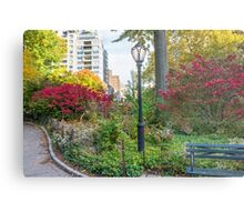 Lamppost and Bench Metal Print