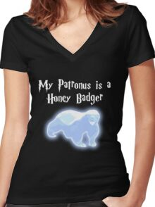 My Patronus is a Honey Badger Women's Fitted V-Neck T-Shirt