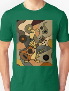 Funny Cool Greyhound Dog Playing Guitar Modern Art Unisex T-Shirt