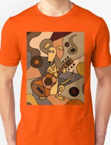 Funny Cool Greyhound Dog Playing Guitar Modern Art T-Shirt