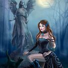 Fantasy beautiful woman with black cat about a statue. wood at night.  by Alena Lazareva