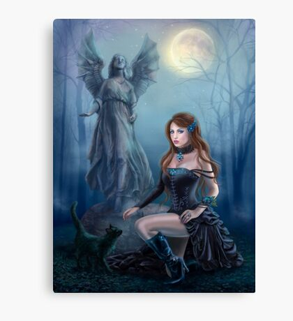 Fantasy beautiful woman with black cat about a statue. wood at night.  Canvas Print