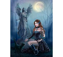 Fantasy beautiful woman with black cat about a statue. wood at night.  Photographic Print