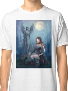 Fantasy beautiful woman with black cat about a statue. wood at night.  Classic T-Shirt