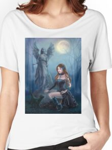 Fantasy beautiful woman with black cat about a statue. wood at night.  Women's Relaxed Fit T-Shirt