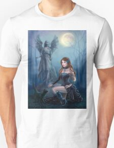 Fantasy beautiful woman with black cat about a statue. wood at night.  Unisex T-Shirt