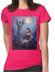 Fantasy beautiful woman with black cat about a statue. wood at night.  Womens Fitted T-Shirt