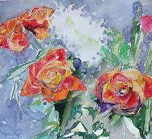 Four Orange Tea Roses by Dmitri Matkovsky