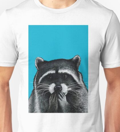 Hungry Raccoon on blue Unisex T-Shirt
