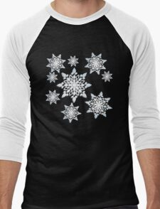 Snowflakes; New Year; Christmas; winter. Men's Baseball ¾ T-Shirt