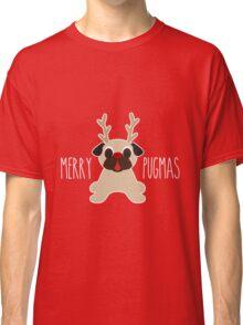 Merry Pugmas Fawn Pug Reindeer Classic T-Shirt