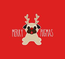 Merry Pugmas Fawn Pug Reindeer Women's Fitted V-Neck T-Shirt