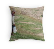 Old Man Walking Down The Hill Throw Pillow