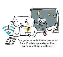 Generation Zombie vs Wifi / Cat doodles Photographic Print