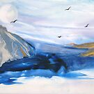 Sea and Gulls - Encaustic Painting by Loreen Finn