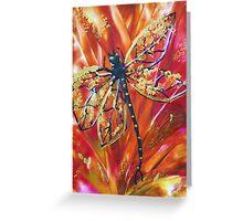 Damsel Red - Encaustic Painting Greeting Card