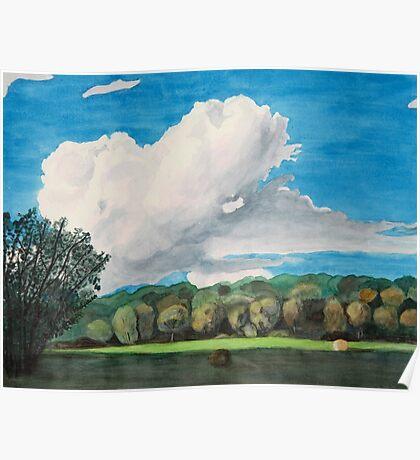 Thundercloud Over Arkansas Hay Field Poster