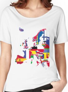 Europe flags black Women's Relaxed Fit T-Shirt