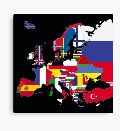 Europe flags black Canvas Print