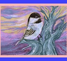 Chickadee in a tree by Cathy Turner