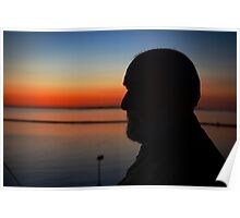 Profile. Silhouette. Sunset. Poster