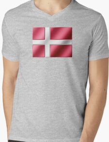 Danish Flag - Denmark - Metallic Mens V-Neck T-Shirt
