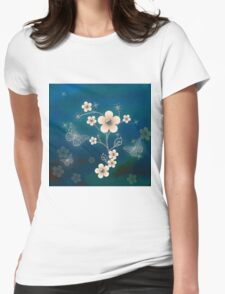 Garden In Blue Womens Fitted T-Shirt