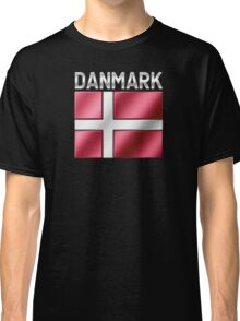 Danmark - Danish Flag & Text - Metallic Classic T-Shirt