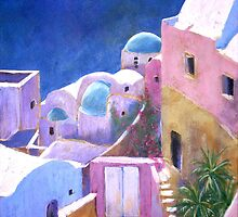 Acrylic painting of Santorini by Emily King