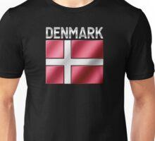Denmark - Danish Flag & Text - Metallic Unisex T-Shirt