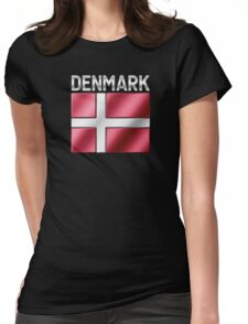 Denmark - Danish Flag & Text - Metallic Womens Fitted T-Shirt