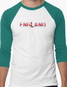 England - English Flag - Metallic Text Men's Baseball ¾ T-Shirt