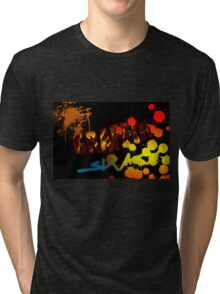 Graffiti with paint splatters Tri-blend T-Shirt