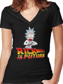 Back to the Future Rick and Morty Women's Fitted V-Neck T-Shirt