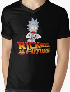Back to the Future Rick and Morty Mens V-Neck T-Shirt