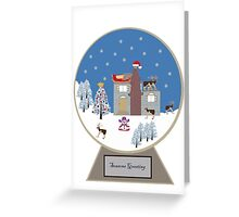 Winter Wonderland in a Christmas Snow Globe Greeting Card